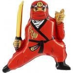 Шар (32''/81 см) Фигура, Ниндзя, Красный, 1 шт.